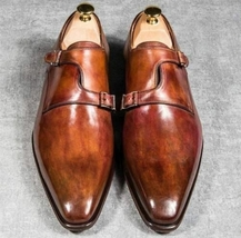 Handmade Men's Brown Leather Monk Strap Double Monk Shoes image 1