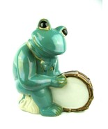 "Vintage Large Art Pottery Frog with Drum Garden Ceramic 12""-Rare Fun Piece - $94.05"