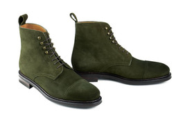 Handmade men's hunter green ankle boots, Men suede boot, Men ankle high suede  - $179.99+