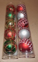 "Christmas Tubed Plastic Ornaments 2 1/4"" Balls 10 Each Celebrate It Glit... - $7.49"