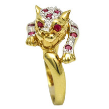 14K Yellow Gold Ruby Diamond Leopard Ring - $292.05