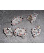 6 Pc Vintage Miniature Doll House Porcelain Furniture Piano Chairs Japan... - $44.55