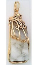 Quartz Crystal Druzy Gold Wire Wrap Pendant 11 - $42.00