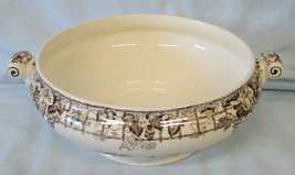 Spode Byron Open Handled Serving Bowl HTF Black, Lady with Dog - $59.29