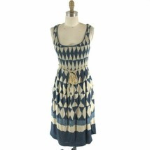 2 - Maeve Anthropologie Dyed Diamond Print Smocked Top Tassle Tie Dress ... - $45.00