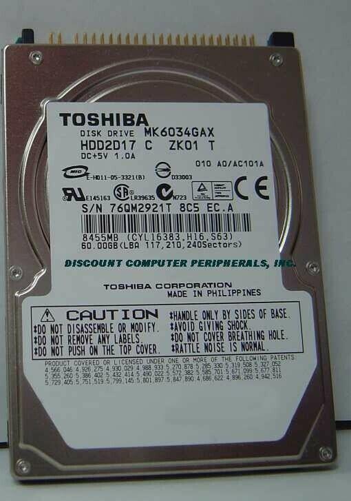 "New 60GB 2.5"" 9.5MM IDE 44PIN Hard Drive Toshiba MK6034GAX HDD2D17 Free USA Ship"