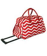 Carry On Rolling Travel Bag Red White Chevron Storage Lightweight Luggag... - $51.26