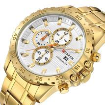 CURREN Sport Man Watch Stainless Steel Chronograph Wristwatch Sporty Mens Clock  - $50.46