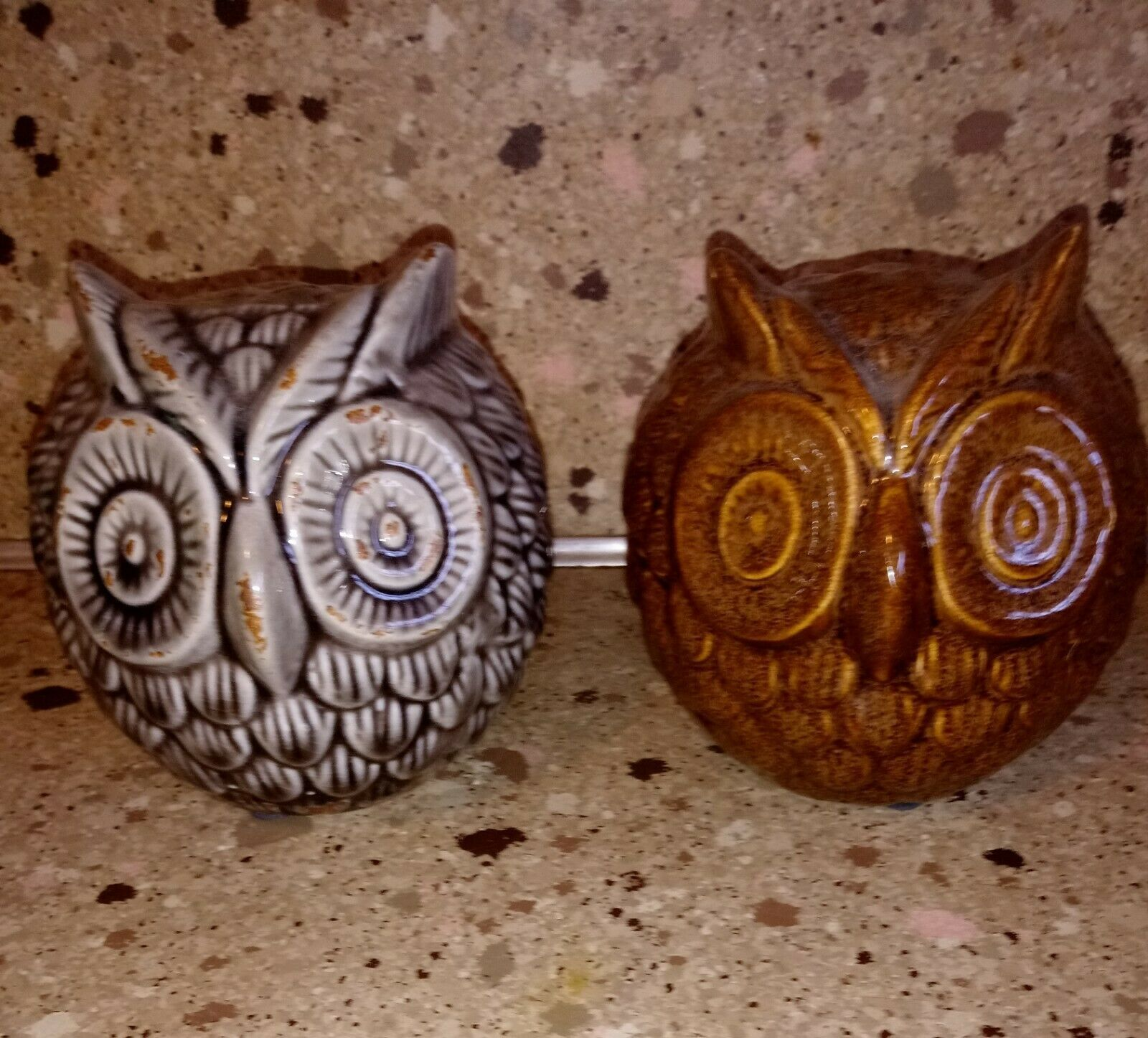 "Round Ball Owl Figurine Statue 4"" Set of 2"
