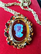 Vintage D&E Juliana Cameo Brooch Pin Pendant Necklace, Rhinestone Brooch Pendant image 7