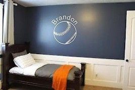 Baseball Sports Teen Kids Boys Room Custom Name Wall Art Home Decor Mura... - $22.55