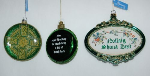 Roman 3 Piece Christmas Irish Theme Ornament Set Cross Bell Ornamental