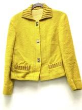 Moschino Aeffe Spa Size Small Mustard Knit Long Sleeve  Blazer Jacket - $36.10