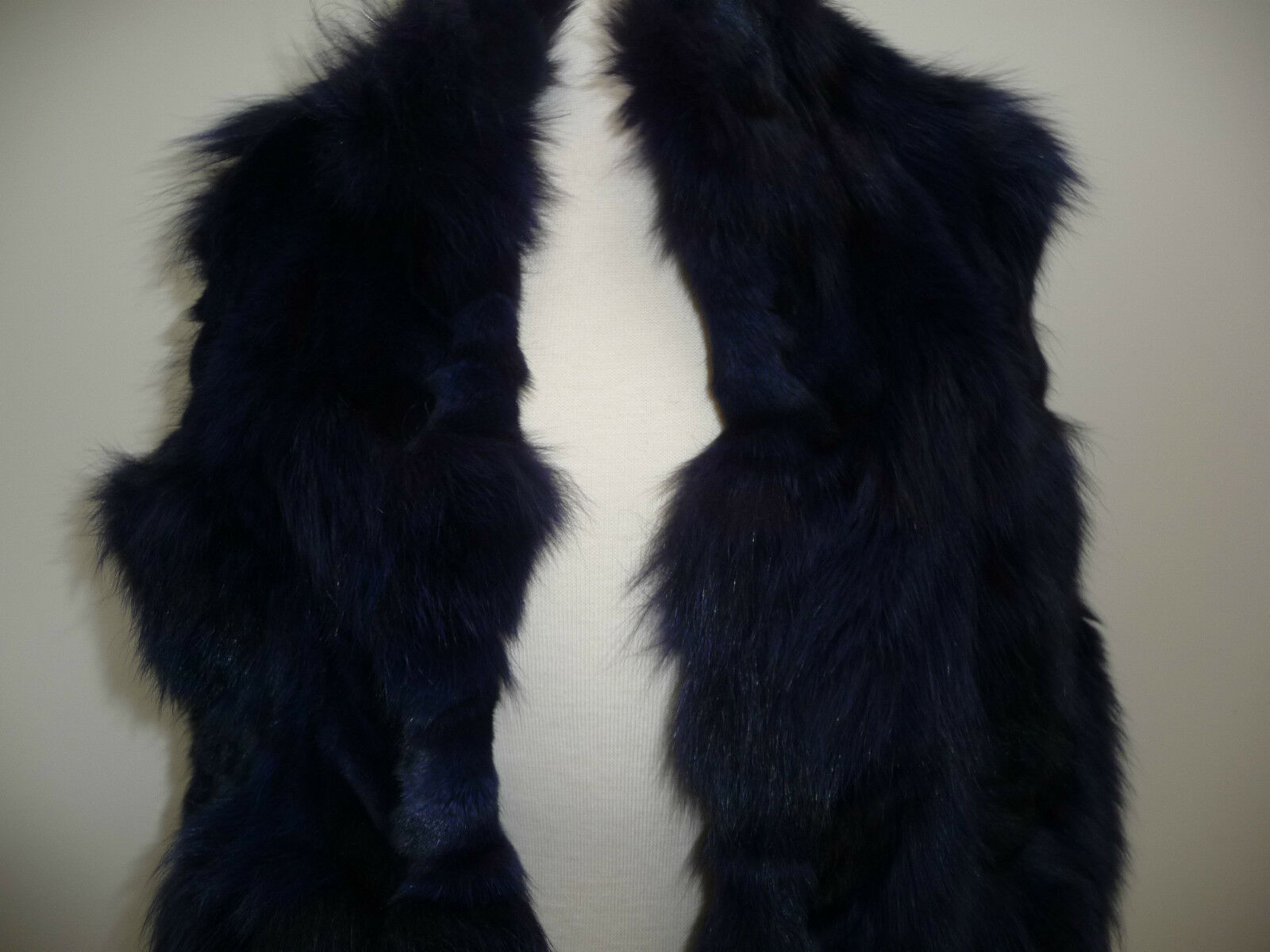 Jocelyn Bicolor Black Navy Roadie Fox Fur Vest New $1.1 image 6