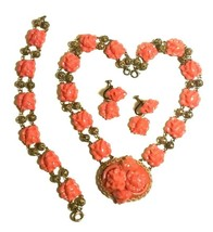 VINTAGE CELLULOID CORAL COLORED ROSES NECKLACE EARRINGS BRACELET PARURE ... - $200.00