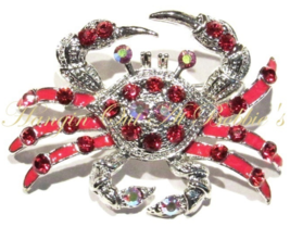 Crab Pin Brooch Red Austrian Crystal Aurora Borealis Multicolor Beach Ocean - $29.99
