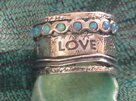 Love Life Joy Freedom Wide Sterling Silver Statement Ring Size Choice 7 or 8 image 2