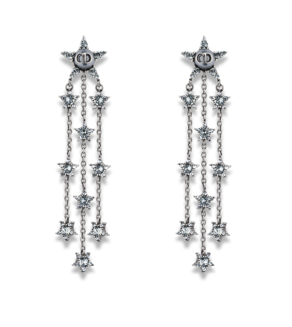 """Authentic Christian Dior """"L'ATELIER DU COSMOS"""" CRYSTAL EARRINGS AGED PALLADIUM"""