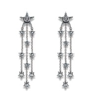 "Authentic Christian Dior ""L'ATELIER DU COSMOS"" CRYSTAL EARRINGS AGED PALLADIUM"