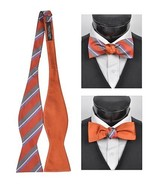 Men's Orange 100% Silk Woven Freestyle and Reversible Bow Tie FRBS1050 - $8.99