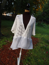 Plus Size Shrugs, White Sweater, Refashioned sweaters, Altered Boleros, Crochete - $34.85
