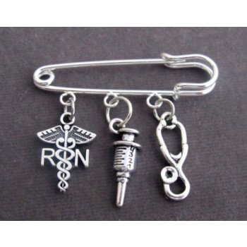 Primary image for Registered Nurse Safety Pin Brooch, Nurse gift Jewelry, Registered Nurse set