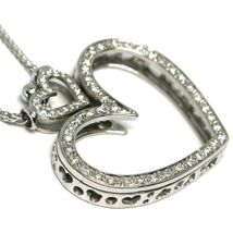 SOLID 18K WHITE GOLD NECKLACE, DOUBLE BIG HEART DIAMONDS, DIAMOND MADE IN ITALY image 3