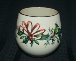 """LENOX votive tea candle holder Christmas  """"Say It With Silk"""" WINTER GREE... - $10.62"""