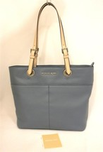 Nwt Michael Kors Denim Blue Leather Bedford Top Zip Tz Pocket Tote Shoulderbag - $166.32