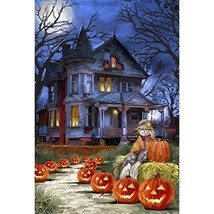 "28 x 40"" Halloween House Flag Garden Yard Decorative Spooky Fall Jack o ... - $26.01"