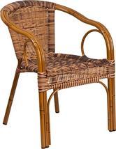 Cadiz Series Burning Brown Rattan Restaurant Patio Chair with Dark Red B... - $105.99