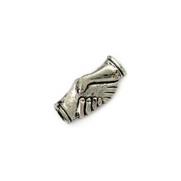 CLASPED HANDS FINE PEWTER BEAD - 22mm x 10mm x 6mm
