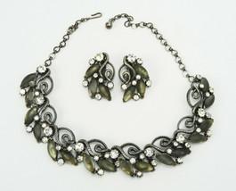 Vintage Florenza Grey Satin & Rhinestone Necklace & Earring Set - $23.00