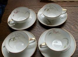 Royal Ceramics RC Japan Gold & Black Swirl & Pink Floral Cup/Saucer Sets... - $47.24