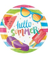 "Hello Summer 8 Ct Dessert 7"" Plates Beach Pool Party - $3.13"