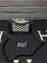 100% AUTHENTIC CHANEL BLACK WHITE WOVEN CALFSKIN SMALL BOY FLAP BAG RHW  image 2