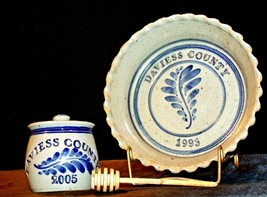 Daviess County Westerwald Stoneware Honey Jar & Pie Plate AA-191830 image 1