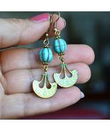Turquoise earrings, long Boho earrings, gemstone earrings (E971) - $13.99