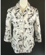 CHICO'S Size 2 (12) Black White Print Shirt 3/4 Sleeves Silver Accents - $15.99