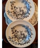 Johnson Bros. Windsor Ware Appleblossom Black/Cream Rimmed Soup Plates 6 - $90.00