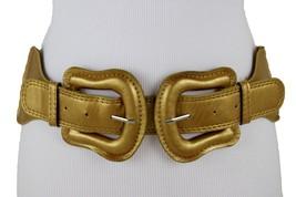 Damen Gold Breit Elastische Bänder Stoff West Auffällige Gürtel Groß Doppel - $26.99