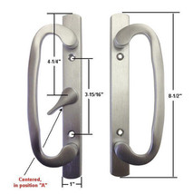 Patio Door Handle Set, Mortise Type, A-Position, Non-Keyed, Brushed Chrome - $54.40