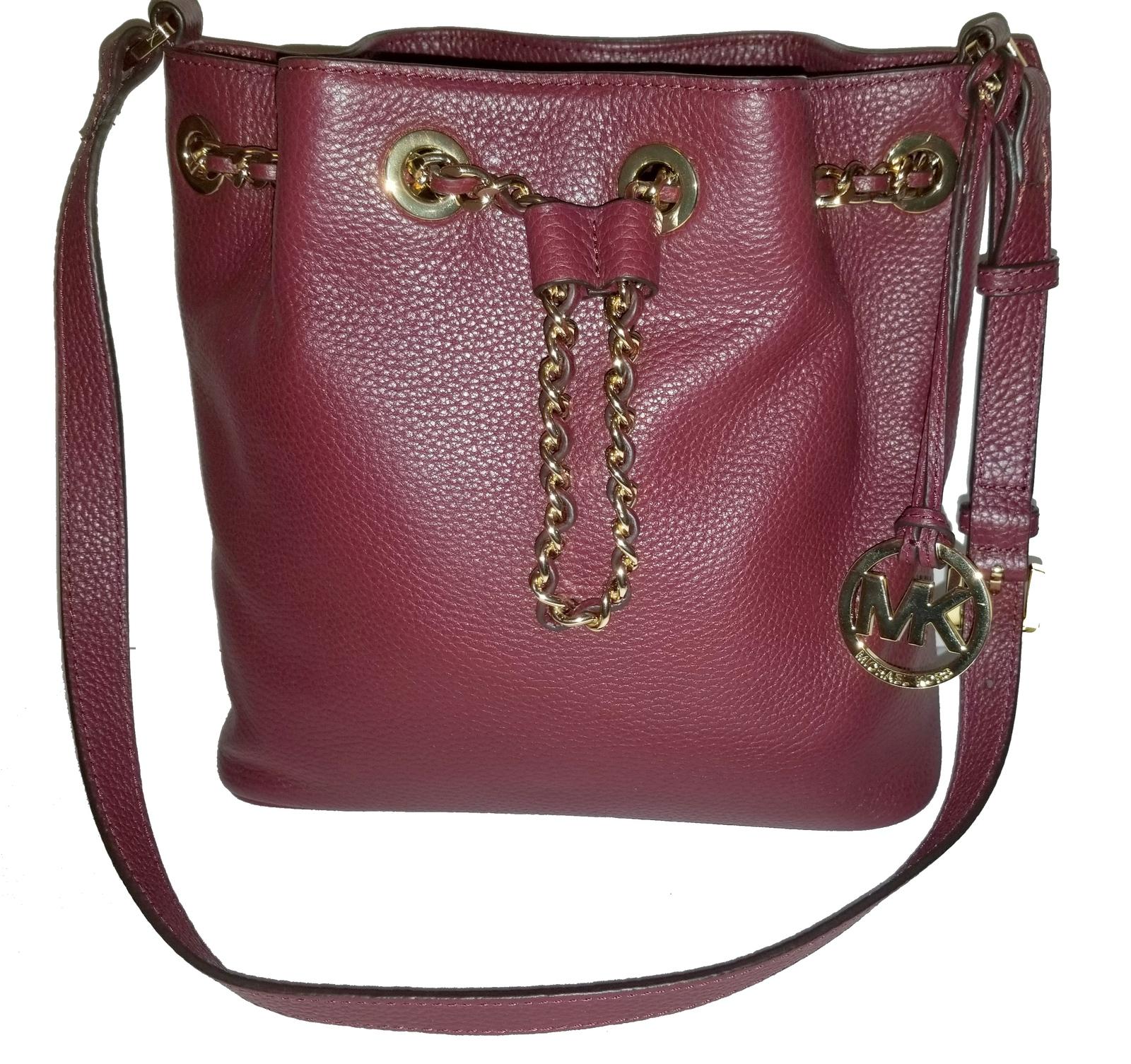 Michael Kors Bucket Shoulder Frankie Oxblood Burgundy Leather Cross Body Bag