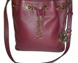 Michael kors red leather oxblood burgundy maroon bucket drawstring bag clean thumb155 crop