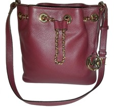 Michael Kors Bucket Shoulder Frankie Oxblood Burgundy Leather Cross Body... - $110.00