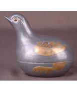 Vtg BIRD Dove Metal Pewter Ginger Box Dome Lid Brass Inlay Hong Kong Han... - $21.49