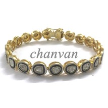 Estate Vintage Style Polky UnCut Diamond 925 Silver Wedding Bracelet @CS... - $474.10