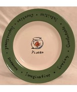 """Pottery Barn WHAT'S YOUR SIGN? """"PISCES"""" 8"""" Collectible Salad Plate Green... - $10.88"""