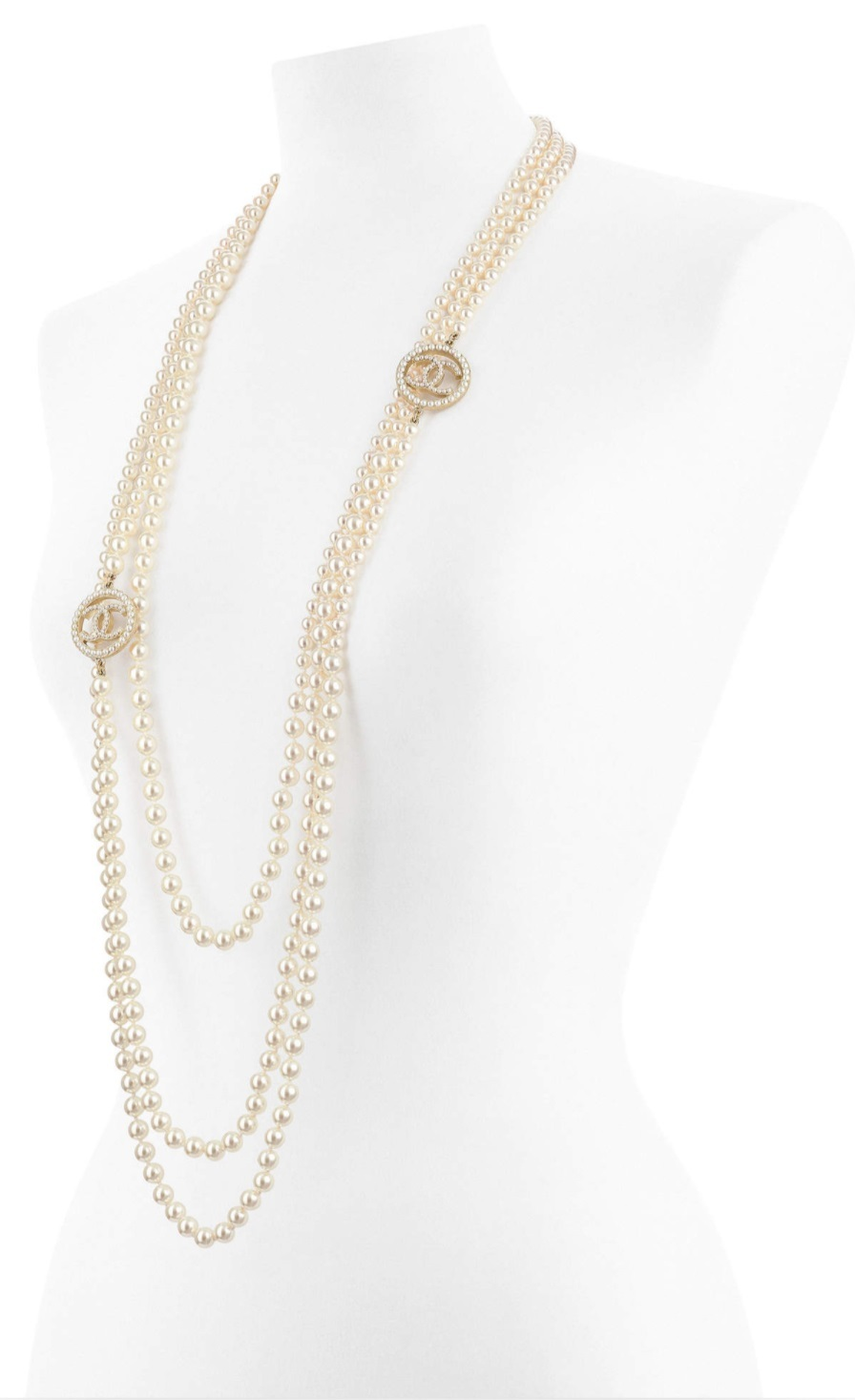 Primary image for Authentic Chanel 2017 Triple Multi Strand Pearl CC Long Necklace Gold NEW