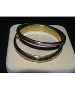 Estate LOT Purple Enamel & Textured Brass Bangle Bracel - $9.40